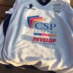 Photo of the cricket shirt with the CSP Systems sponsorship logo